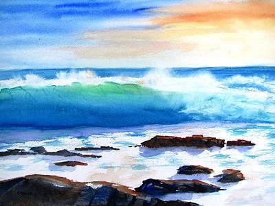 Blue Water Wave Crashing On Rocks Poster
