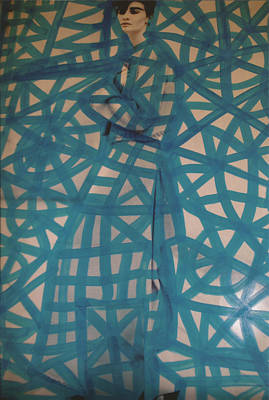 Blue Web Pop Graffiti Model Poster