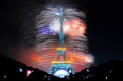 Blue White Red Fireworks Poster