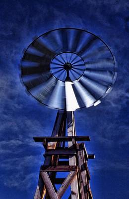 Blue Windmill Poster