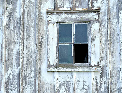 Blue Window In Weathered Wall Poster