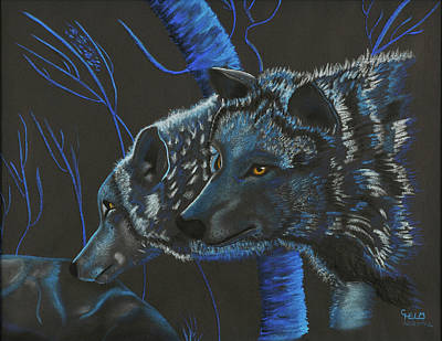 Poster featuring the drawing Blue Wolves by Mayhem Mediums