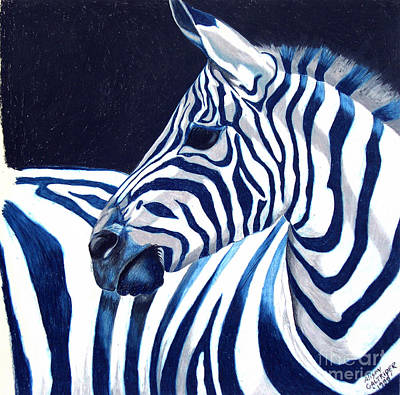 Poster featuring the painting Blue Zebra by Alison Caltrider