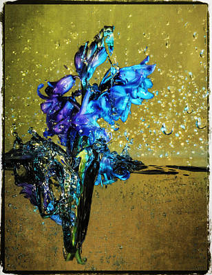 Poster featuring the mixed media Bluebells In Water Splash by Peter v Quenter