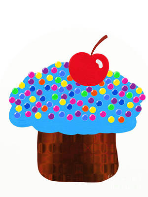 Blueberry Cupcake Poster by Andee Design