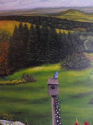 Bluebird On A Birdhouse Poster