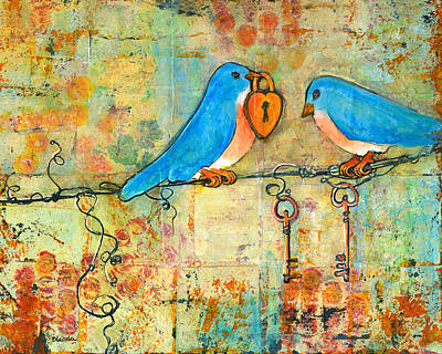 Bluebird Painting - Art Key To My Heart Poster by Blenda Studio