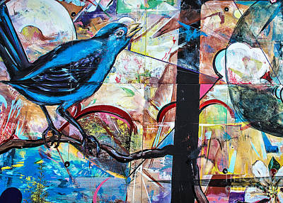 Poster featuring the mixed media Bluebird Signs by Terry Rowe