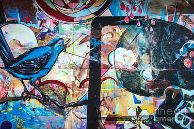 Poster featuring the mixed media Bluebird Sings by Terry Rowe