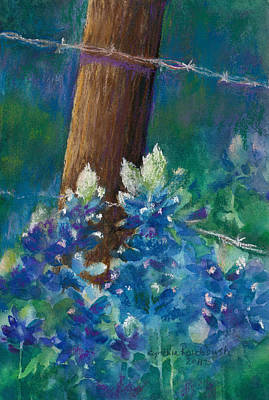 Bluebonnets At The Fencepost Poster