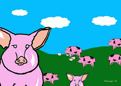Bluesky Farm Pigs Poster