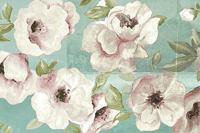 Blush Flowers On Teal Poster by Patricia Pinto