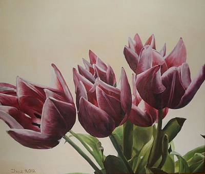 Poster featuring the painting Blushing Tulips by Cherise Foster