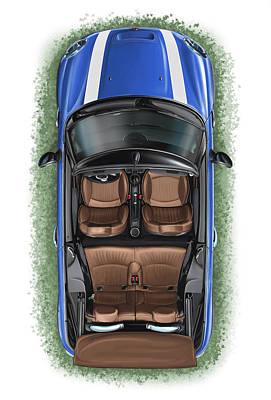 Bmw Mini Cooper S Cabrio Blue Poster