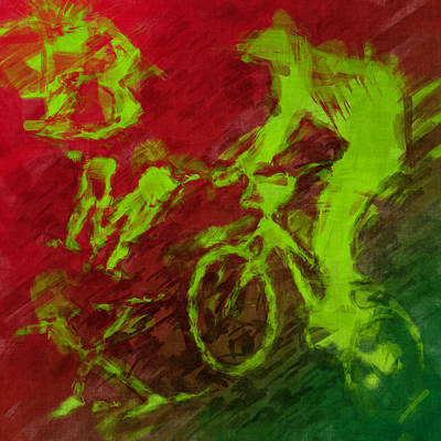 Bmx Rider Abstract Poster by David G Paul