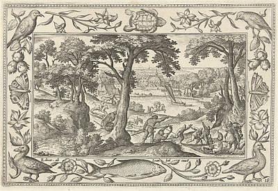 Boar Hunt, Print Maker Adriaen Collaert Poster by Adriaen Collaert And Hans Bol And Eduwart Van Hoeswinckel