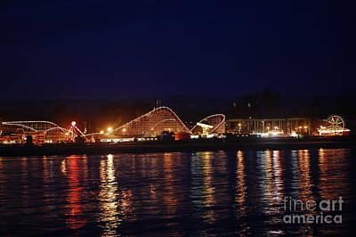 Santa Cruz Boardwalk At Night Poster