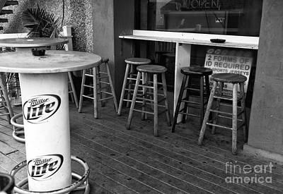 Boardwalk Bar Seats Mono Poster