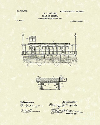 Boat 1903 Patent Art Poster by Prior Art Design