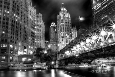 Boat Along The Chicago River Poster