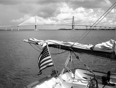 Poster featuring the photograph Boat And Charleston Bridge by Ellen Tully