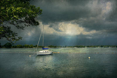 Boat - Canandaigua Ny - Tranquility Before The Storm Poster by Mike Savad