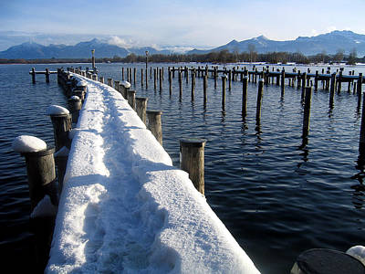 boat harbour at Lake Chiemsee in winter Poster