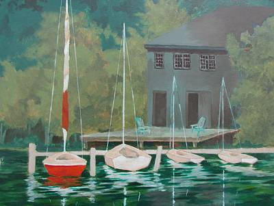 Poster featuring the painting Boat House At Dusk by Tony Caviston