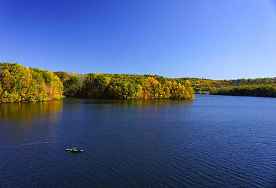 Poster featuring the photograph Boat In Croton Reservoir - Ny by Rafael Quirindongo