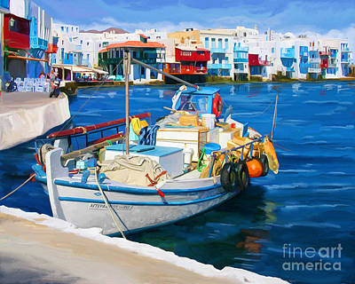 Poster featuring the painting Boat In Greece by Tim Gilliland