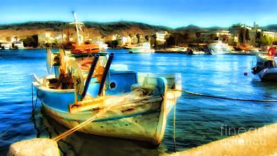 Boat In Marina Poster