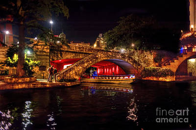 Poster featuring the photograph Boat On Canal Riverwalk San Antonio At Night by Dan Friend