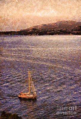 Boat On Ocean At Dusk Poster by Pixel Chimp
