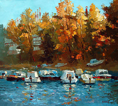 Poster featuring the painting Boat On The Waterfront by Dmitry Spiros