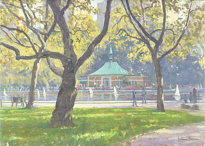 Boat Pond, Central Park Oil On Canvas Poster by Julian Barrow