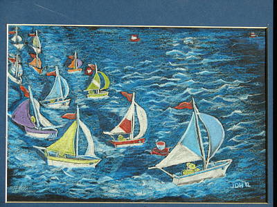 Poster featuring the drawing Boat Race/bernie And Joe by Joseph Hawkins