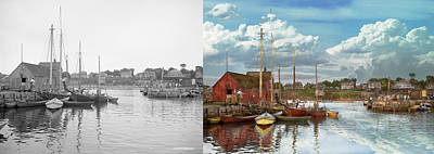 Boat - Rockport Mass - Motif Number One - 1906 - Side By Side Poster by Mike Savad