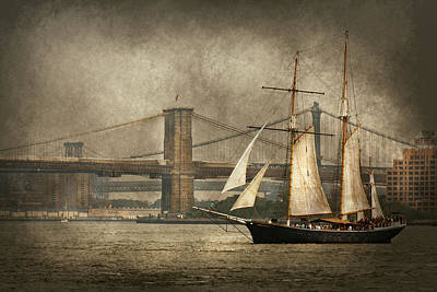 Boat - Sailing - Govenors Island Ny - Clipper City Poster by Mike Savad