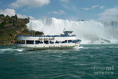 Boat Ship Taking Travellers To Niagara Falls View From Casino Casinorama  Ontario Canada Vacation Tr Poster by Navin Joshi