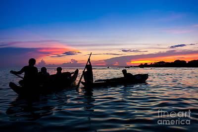 Boat Silhouettes Angkor Cambodia Poster by Fototrav Print