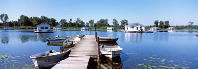 Boathouses In A Lake, Lake Erie, Erie Poster