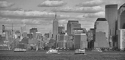 Boating In New York City Black And White Poster