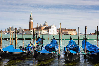 Boats Anchored At Marina Venice, Italy Poster by Richard Desmarais