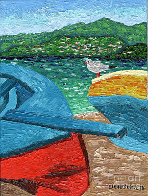 Boats And Bird At Rest Poster by Laura Forde
