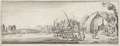 Boats At A Village On A River, Jan Van De Velde II Poster by Jan Van De Velde (ii)