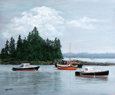 Poster featuring the painting Boats At Bar Harbor by Sandra Nardone