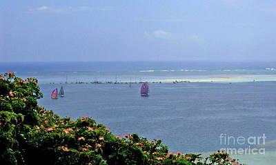 Boats At  Kaneohe Bay Sandbar In Hawaii Poster by Mukta Gupta
