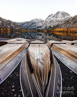 Boats At Mountain Lake In Autumn Fine Art Photograph Print Poster