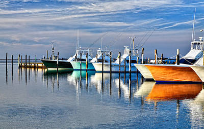 Boats At Oregon Inlet Outer Banks I Poster by Dan Carmichael