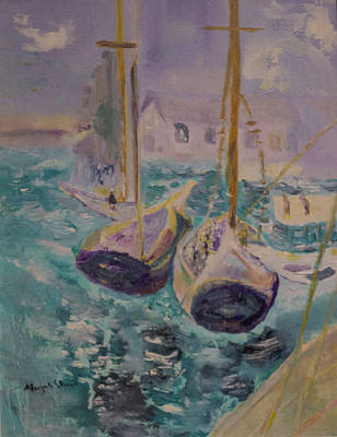 Poster featuring the painting Boats At Sea by Aleezah Selinger